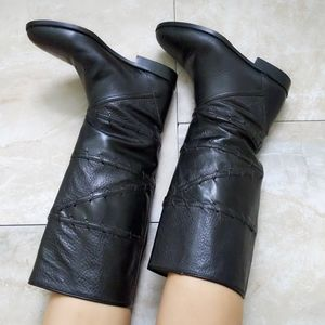 Vtg Joan & David Whipstitch Leather Riding Boots 6